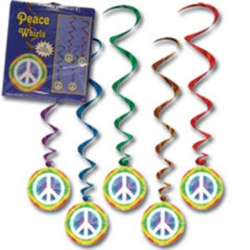 PEACE SIGN METALLIC WHIRLS