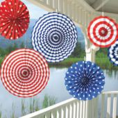 American Summer Fan Decorations-6 Pack