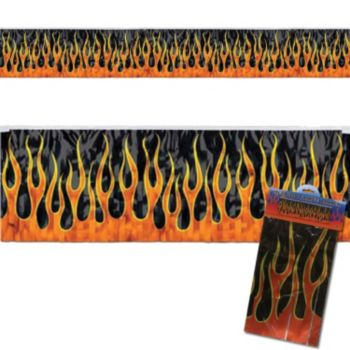 FLAME METALLIC FRINGE BANNER
