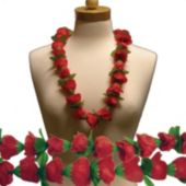"Red Rose Silk Flower 36"" Lei"