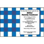 Blue Gingham Personalized Invitations