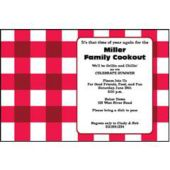 Red Gingham Check Personalized Invitations