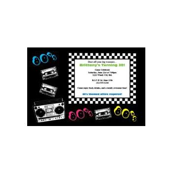 Totally Awesome 80's Custom Invitations