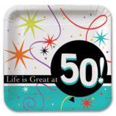 Rainbow Celebration 50th Birthday 7'' Plate