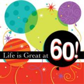 60 Life Is Great Beverage Napkins - 16 Pack