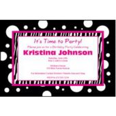 Funky Pink & Black Personalized Invitations