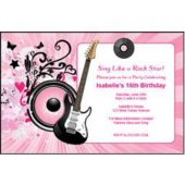 Pink Rocker Personalized Invitations