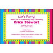 Bright Stripes  Personalized Invitations