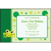 Frog Green Personalized Invitations