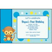 Monkey Blue Personalized Invitations