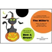 Cat And Pumpkin Personalized Invitations