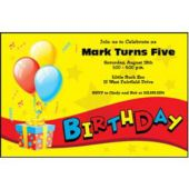 Birthday Balloons Personalized Invitations