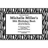 Zebra Print Personalized Invitations