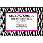 Funky Zebra Print Personalized Invitations