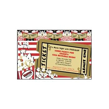 Hollywood Movie Ticket Personalized Invitations