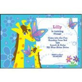 Giraffe & Butterflies Personalized Invitations