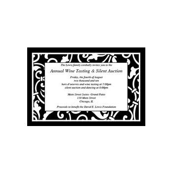 Black Scroll Personalized Invitations