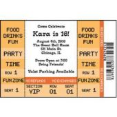 Orange Ticket Personalized Invitations