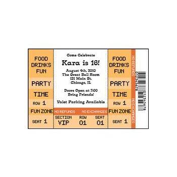 Orange Ticket Personalized Invitations