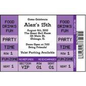 Purple Ticket Personalized Invitations