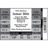 Black Ticket Personalized Invitations