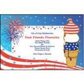 Patriotic Ice Cream Personalized Invitations