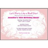 Pink Swirl Personalized Invitations
