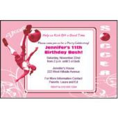 Hip Soccer Pink Personalized Invitations