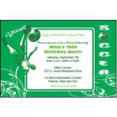 Hip Soccer Green Personalized Invitations