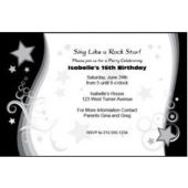 Black Star Swirl Personalized Invitations