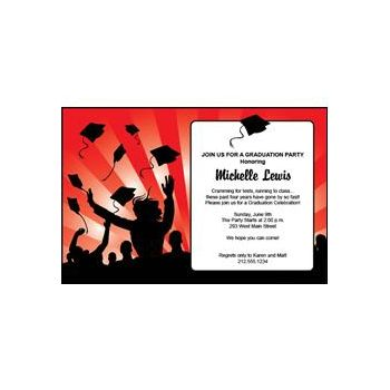 Graduation in Red Personalized Invitations