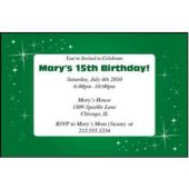 Sparkling Green Personalized Invitations