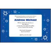 Mitzvah Blue Sparkle Personalized Invitations