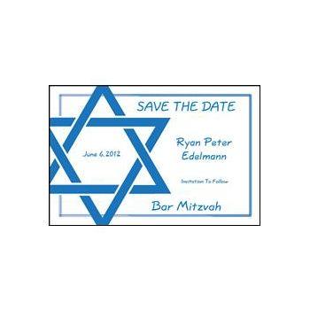 Blue Star of David Personalized Invitations