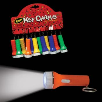 Assorted Color Flashlight Keychains - 2 Inch, 12 Pack