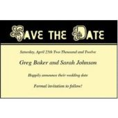 Yellow Scroll Save Date Personalized Cards