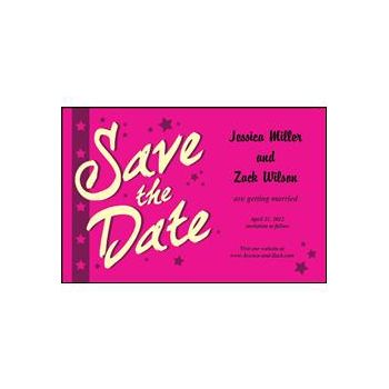 Save the Date - Pink Stars