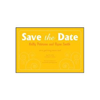 Save the Date Yellow Dashed