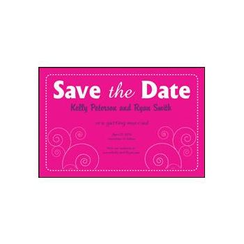 Save the Date Pink Dashed
