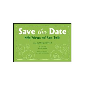 Save the Date Green Dashed