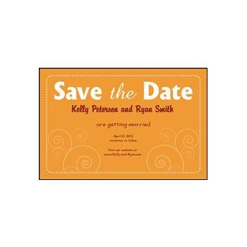 Save the Date Orange Dashed