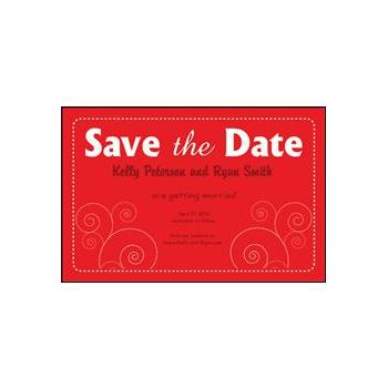 Save the Date Red Dashed