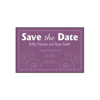 Save the Date Purple Dashed