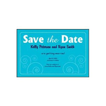 Save the Date Blue Dashed