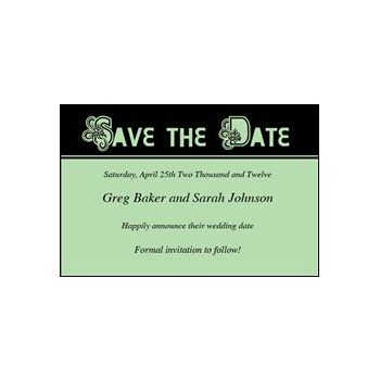 Save Date Ornate Green