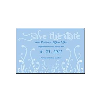 Save Date Swirls Blue