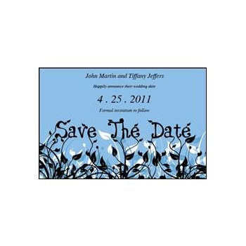 Save Date Flowers blue