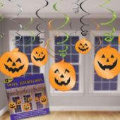 Pumpkin Cutout Hanging Swirls-12 Pack