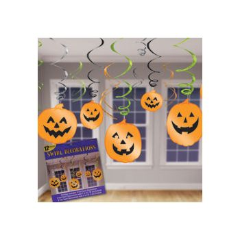 PUMPKIN CUTOUT HANGING SWIRLS