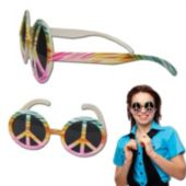 Peace Sign Tie Dye Glasses - 12 Pack